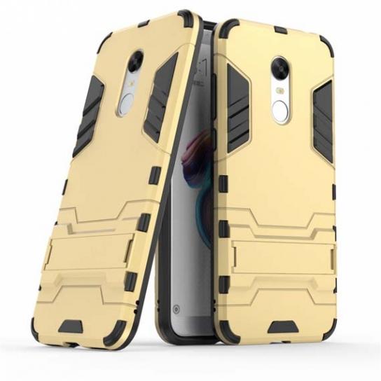 Ударопрочный чехол-подставка Transformer для Xiaomi Redmi 5 Plus/Note5 (SC) с мощной защитой корпуса (Gold)