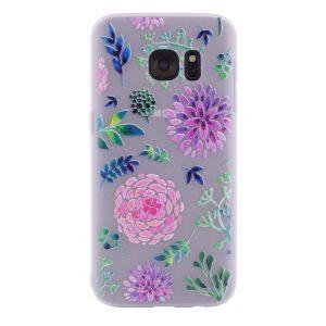 TPU чехол матовый soft touch color для Samsung G930F Galaxy S7 (Разноцветные Цветы)