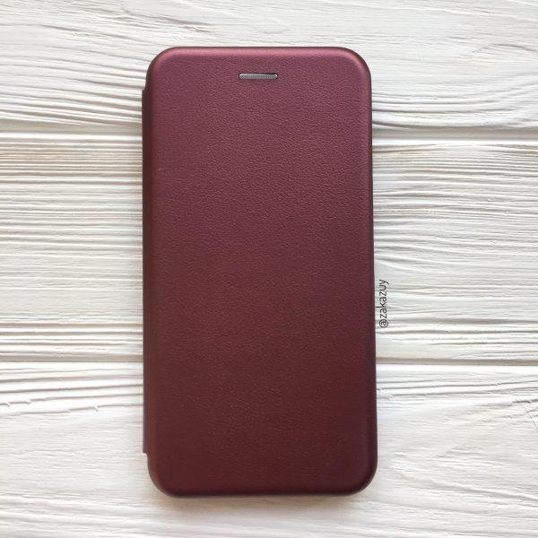 Марсаловый кожаный чехол-книжка (экокожа+TPU) для Xiaomi Redmi 6А (Marsala)