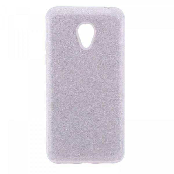 Серебряный силиконовый (TPU+PC) чехол (накладка) Shine с блестками для Meizu M5 (Silver)