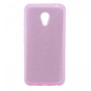 Розовый силиконовый (TPU+PC) чехол (накладка) с блестками Shine для Meizu M5c (Rose)