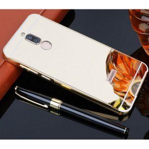 Золотой алюминиевый чехол с акриловой вставкой с зеркальным покрытием для Huawei Mate 10 lite (Gold)