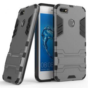 Серый ударопрочный чехол (бампер) с подставкой Transformer для Huawei Y6 Pro (2017) / Nova Lite (2017) / P9 Lite mini (Gun Metal)