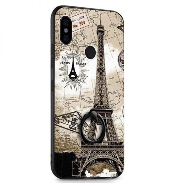 Коричневый (TPU+PC) тематический чехол с кольцом с принтом для Huawei P Smart+ (nova 3i) Paris