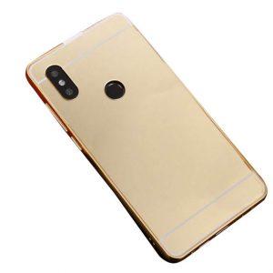 Металлический бампер с акриловой вставкой с зеркальным покрытием для Xiaomi Redmi 6 Pro / Mi A2 Lite (Gold)