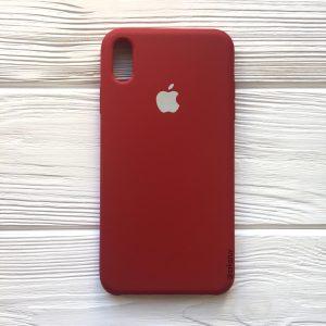 Оригинальный силиконовый чехол (Silicone case) для Iphone XS Max (Burgundy) №26