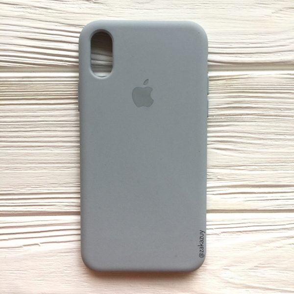 Оригинальный силиконовый чехол (Silicone case) для Iphone X / XS (Light Blue) №33