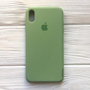 Оригинальный силиконовый чехол (Silicone case) для Iphone XS Max (Light Green) №10