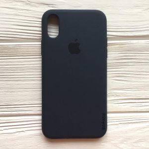 Оригинальный силиконовый чехол (Silicone case) для Iphone XS Max (Navy Blue) №9