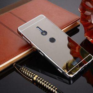 Металлический бампер с акриловой вставкой с зеркальным покрытием для Sony Xperia XZ2 (Grey)