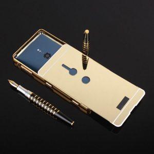 Металлический бампер с акриловой вставкой с зеркальным покрытием для Sony Xperia XZ2 (Gold)