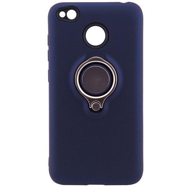 Синий (TPU+PC) чехол (бампер) Deen с кольцом и креплением под магнитный держатель для Xiaomi Redmi 4х (Blue)