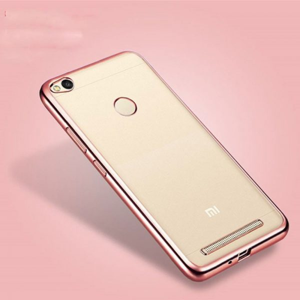 Прозрачный силиконовый (TPU) чехол (накладка) с розовым глянцевым ободком для Xiaomi Redmi 4х (Pink)