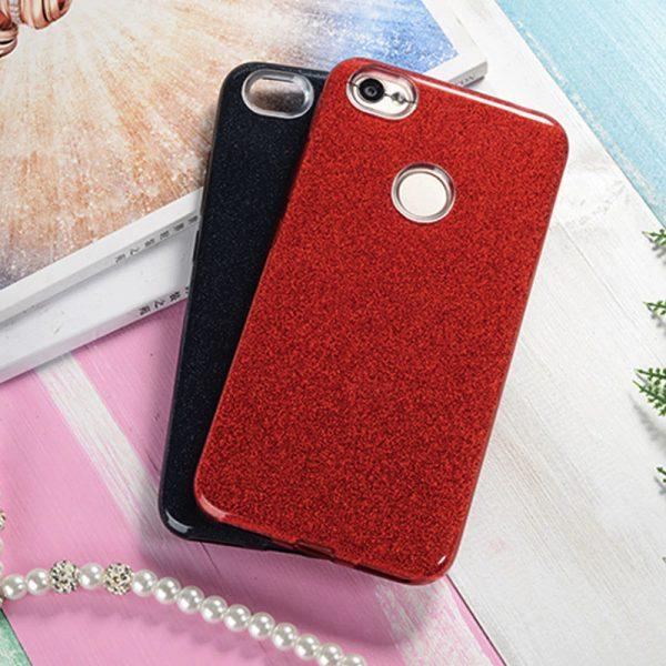 Красный силиконовый (TPU+PC) чехол (накладка) Shine с блестками для Xiaomi Redmi 4х (Red)