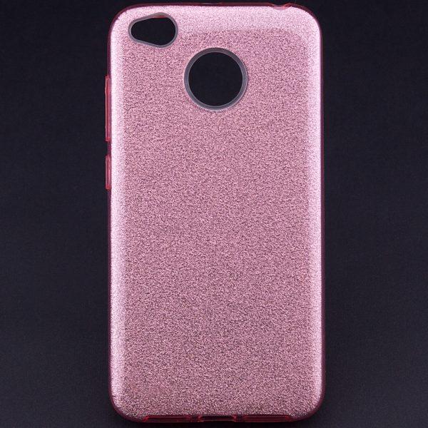 Ярко-розовый силиконовый (TPU+PC) чехол (накладка) Shine с блестками для Xiaomi Redmi 4х (Rose)