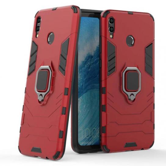 Красный противоударный (ударопрочный) чехол (бампер) TPU+PC Transformer Ring с кольцом под магнитный держатель для Huawei Honor 8x (Red)