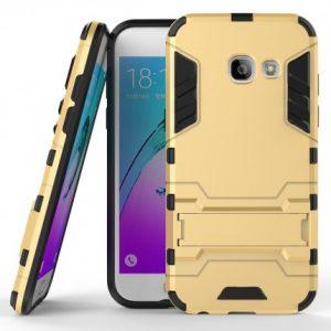 Золотой противоударный (ударопрочный) чехол (бампер) TPU+PC Transformer с подставкой для Samsung A520 Galaxy A5 2017 (Gold)