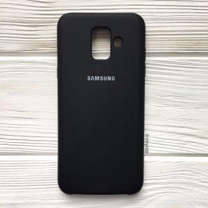 Черный оригинальный матовый силиконовый (TPU) чехол Silicone Cover с микрофиброй для Samsung А600 Galaxy А6 (2018) (Black)