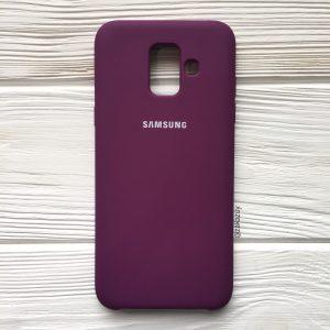 Баклажановый оригинальный матовый силиконовый (TPU) чехол Silicone Cover с микрофиброй для Samsung А600 Galaxy А6 (2018) (Purple)