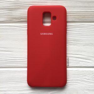 Красный оригинальный матовый силиконовый (TPU) чехол Silicone Cover с микрофиброй для Samsung А600 Galaxy А6 (2018) (Red)