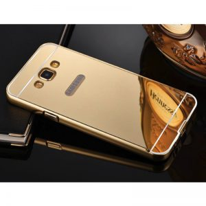 Золотой алюминиевый чехол (бампер) с акриловой вставкой и зеркальным покрытием для Samsung A700 Galaxy A7 2015 (Gold)