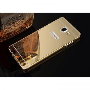 Золотой алюминиевый чехол (бампер) с акриловой вставкой и зеркальным покрытием для Samsung A710 Galaxy A7 2016 (Gold)