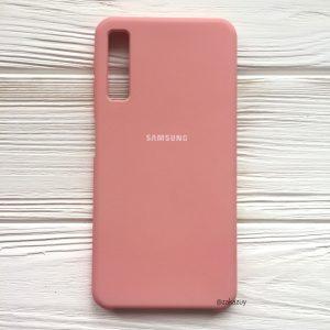 Розовый оригинальный матовый силиконовый (TPU) чехол Silicone Cover с микрофиброй для Samsung А750 Galaxy А7 (2018) (Pink)