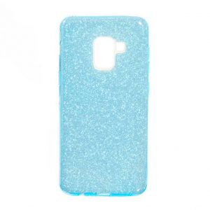 Голубой силиконовый (TPU+PC) чехол (накладка) Shine с блестками для Samsung A530 Galaxy A8 (Blue)