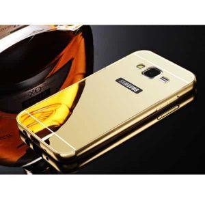 Золотой алюминиевый чехол (бампер) с акриловой вставкой и зеркальным покрытием для Samsung G530 Galaxy Grand Prime (Gold)