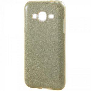 Cветло-золотой силиконовый (TPU+PC) чехол (накладка) Shine с блестками для Samsung J500 Galaxy J5 (2015) (Light Gold)