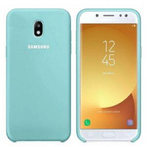 Мятный оригинальный матовый силиконовый (TPU) чехол Silicone Cover с микрофиброй для Samsung J730 Galaxy J7 (2017) (Mint)