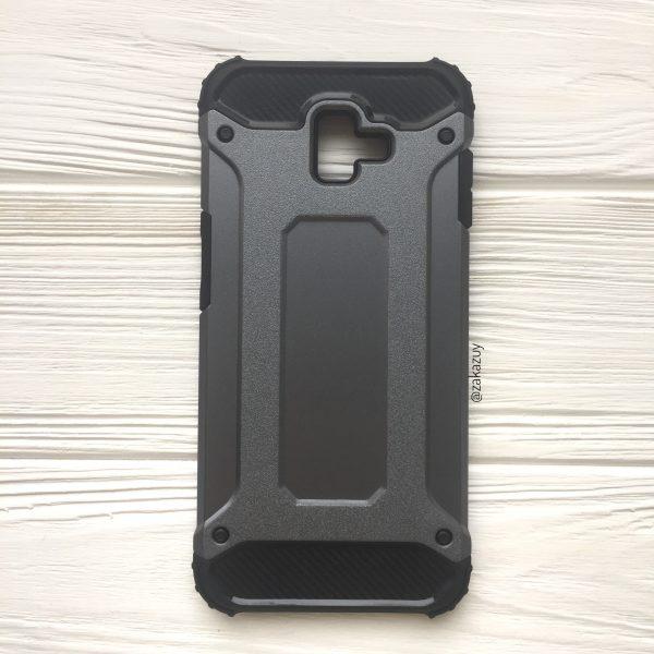 Серый противоударный (ударопрочный) бронированный чехол (бампер) Spigen для Samsung J610 Galaxy J6 Plus (Grey)
