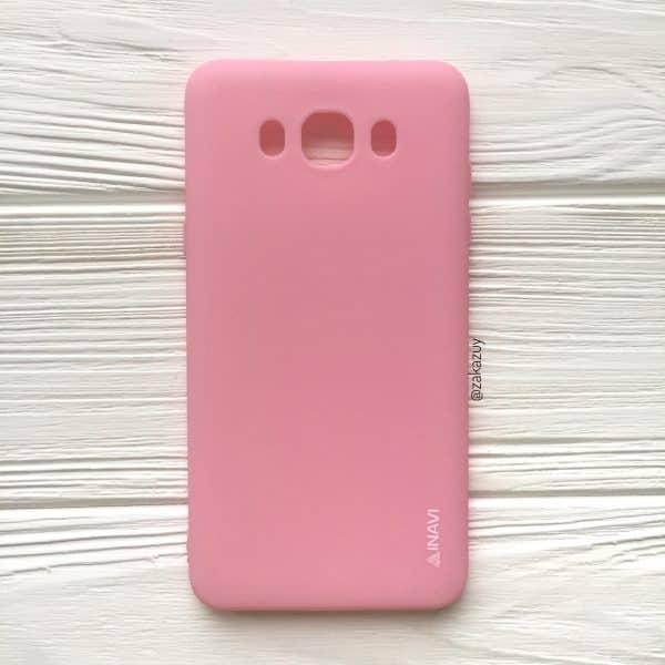Розовый матовый cиликоновый чехол (накладка) для Samsung J710 Galaxy J7 (2016) (Pink)