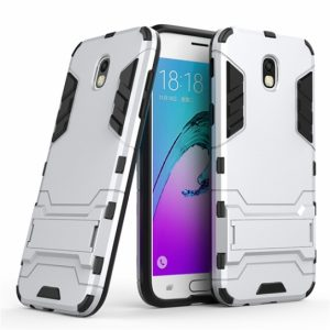Серебряный противоударный (ударопрочный) чехол (бампер) TPU+PC Transformer с подставкой для Samsung J730 Galaxy J7 (2017) (Silver)
