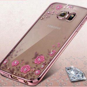 Прозрачный силиконовый (TPU) чехол (накладка) с розовым глянцевым ободком и цветами и старазами для Samsung G935 Galaxy S7 Edge (Pink)