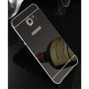 Серый алюминиевый чехол (бампер) с акриловой вставкой и зеркальныйм покрытием для Samsung G935 Galaxy S7 Edge (Grey)