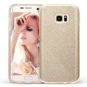 Золотой силиконовый (TPU+PC) чехол (накладка) Shine с блестками для Samsung G935 Galaxy S7 Edge (Gold)