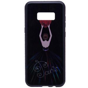"""Черный силиконовый (TPU+PC) чехол Magic Girl со стразами """"Сердце"""" для Samsung G955 Galaxy S8 Plus"""