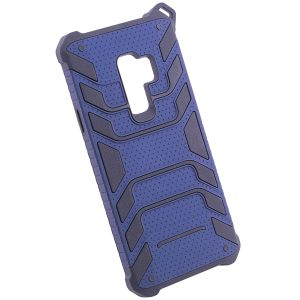 Противоударный синий (TPU+PC) чехол (бампер) Deen Beetle с ремешком для Samsung G965 Galaxy S9 Plus (Blue)