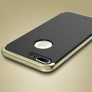 Защитный фирменный чехол бампер iPaky TPU (силикон) + PC для Iphone 7 Plus / 8 Plus – черно – золотой