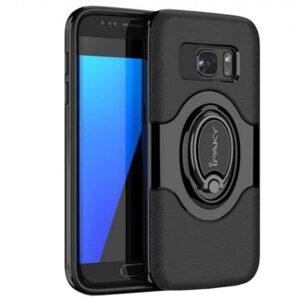 TPU+PC чехол iPaky Feather с имитацией кожи и подставкой для Samsung G930F Galaxy S7 (Черный)