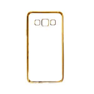Прозрачный силиконовый чехол для Samsung A300H / A300F Galaxy A3 с глянцевой окантовкой(Gold)