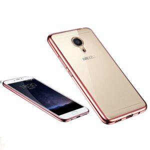 Прозрачный силиконовый чехол с глянцевым розовым ободком для Meizu M5