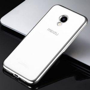 Прозрачный силиконовый чехол с глянцевым серебряным ободком для Meizu M5