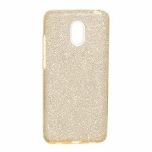 Золотой силиконовый (TPU+PC) чехол (накладка) с блестками Shine для Meizu M6 (Gold)