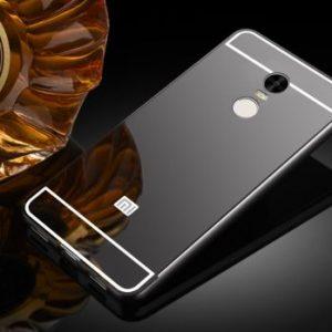 Защитный алюминиевый бампер с акриловой вставкой с зеркальным покрытием для Xiaomi Redmi 4 Note (Grey)