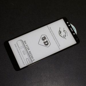 Защитное цветное стекло 5D Full cover (на весь экран) для Xiaomi Redmi 5 (Black)