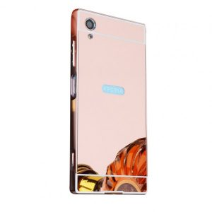 Металлический бампер с акриловой вставкой с зеркальным покрытием для Sony Xperia XA1 Plus (Розовый)