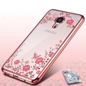 Защитный силиконовый чехол с цветами и глянцевим розовым ободком для Meizu M3 Note
