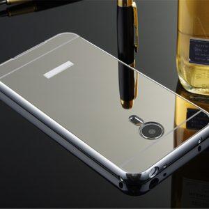 Защитный металлический бампер с зеркальным покрытием для Meizu M3/ M3s/ M3 mini (серебряный)